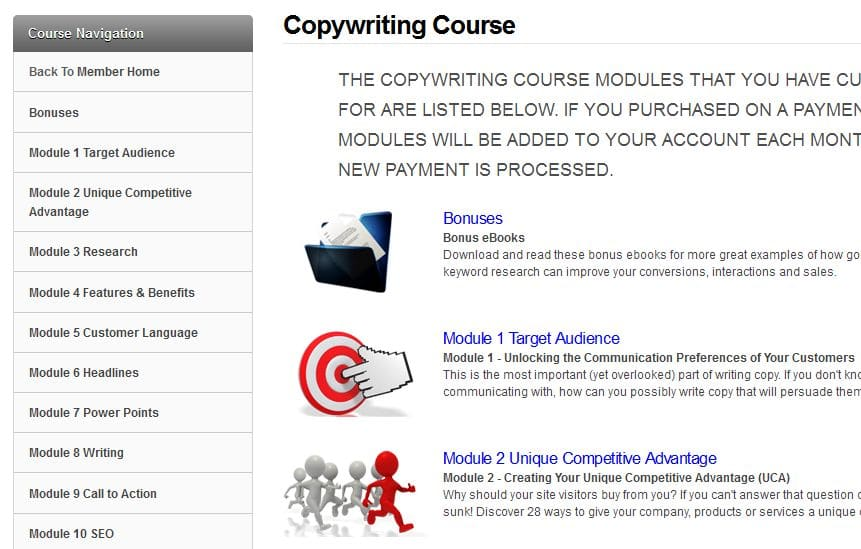 Step by Step Copywriting Course module page