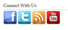 Social media icons on blog