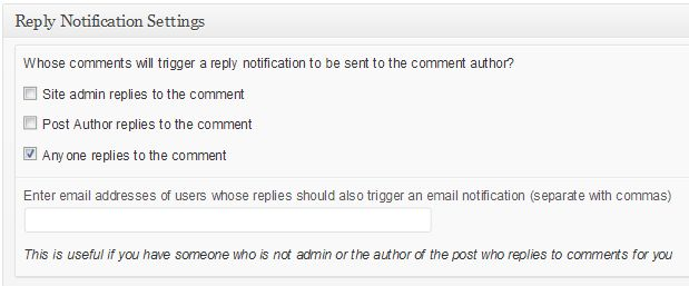 CommentLuv ReplyMe Notification Settings