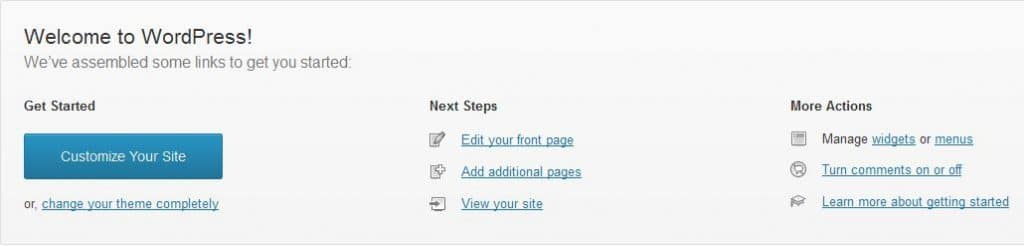 WordPress 3.5 Welcome section